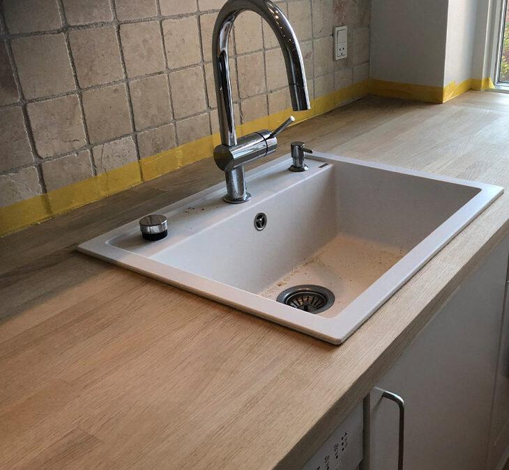 Slib af egetræskøkkenbordplade + vindueskarm
